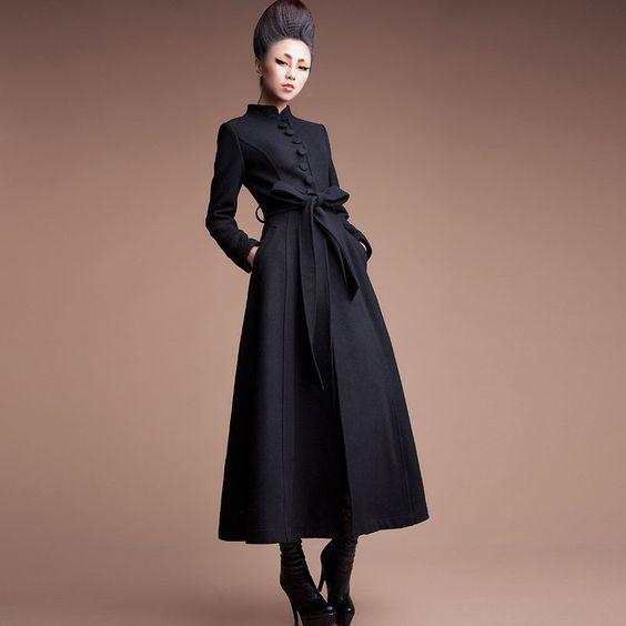 假期包邮2012冬季新时尚毛呢外套长款风衣外套立领毛呢F327-1-tmall.com天猫