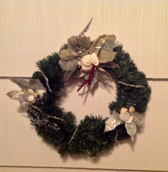 Nautical Beach lovers one of a kind. Christmas wreath. winnieandbelle Made in U.S.A.  Hand caught sea glass and shells from The Jersey Shore, NJ