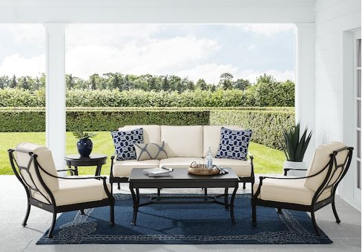 St Laurent Mocha 4 Pc Outdoor Seating Set With Linen Cushions