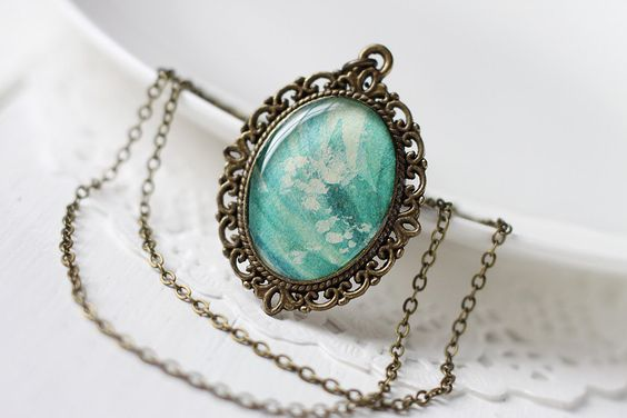 Teal Blue Vintage Art Pendant Necklace - Waves, Summer Wear. $20.00, via Etsy.