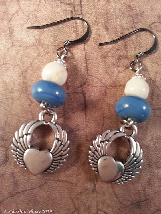 Lampwork Blue Glass Earrings with Mother of Pearl by ASplashOGlass