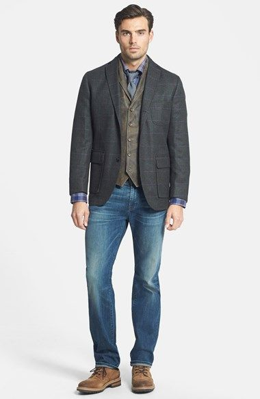 FLYNT Plaid Sport Coat Leather Vest &amp 7 for All Mankind® Bootcut