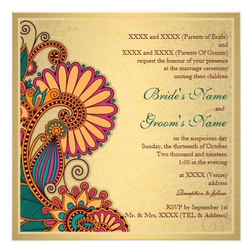 Colorful Paisley Pattern On Gold Indian Wedding Invitation Zazzle Com Indian Wedding Invitations Indian Wedding Cards Hindu Wedding Invitations