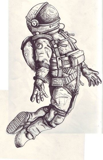 rocket-man and its meanings...flying a kite in his right hand. (reflection of the earth or one of dad's favorite moons in the visor.) >>>good tattoo idea