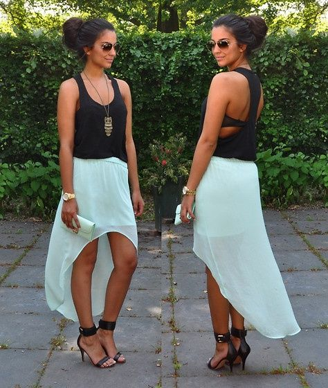 love the mint high low skirt and tank top!