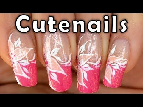 Candy pink French manicure with white flower by cute nails. Link download: http://www.getlinkyoutube.com/watch?v=fErGASoBaJk