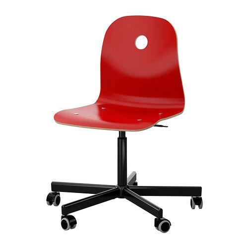 VÅGSBERG / SPORREN Chaise pivotante - rouge/noir - IKEA