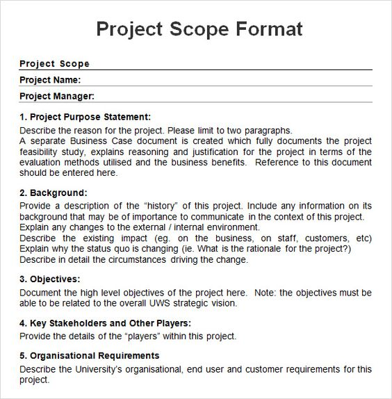 Project-Scope-Sample-Formatjpg (604×615) PROJECT CHARTER - project charter template