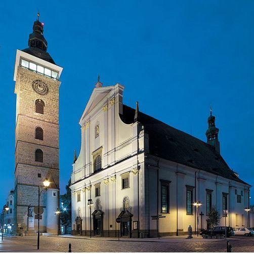 Černá věž (Black tower) and the church of St.Nicolas in České Budějovice (South  Bohemia), Czechia