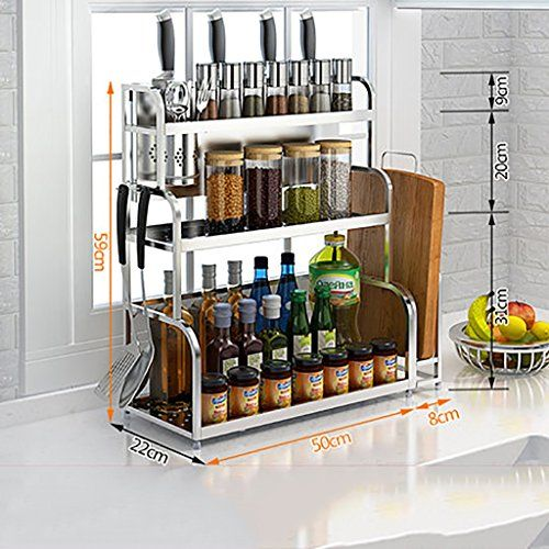Kitchen Shelf Multipurpose Spice Racks Stainless Steel Kitchen Seasoning Shelves Kitchen Storage Organizer Kitchen Storage Racks Wine Rack Shoe Rack Storage