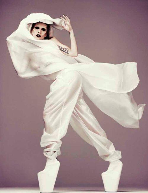 Lady Gaga so high fashion! All white photography modeling