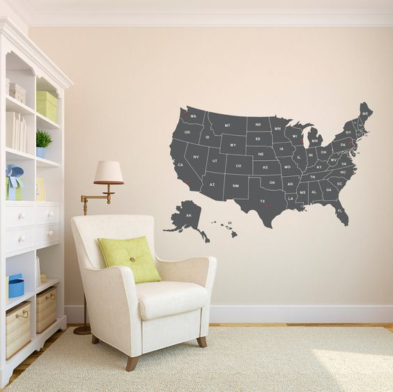 Maps United States Map Wall Decal Blog with Collection of Maps