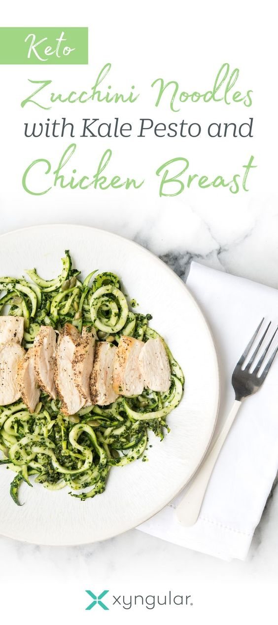 Keto Zucchini Noodles with Kale Pesto and Chicken Breast Recipe