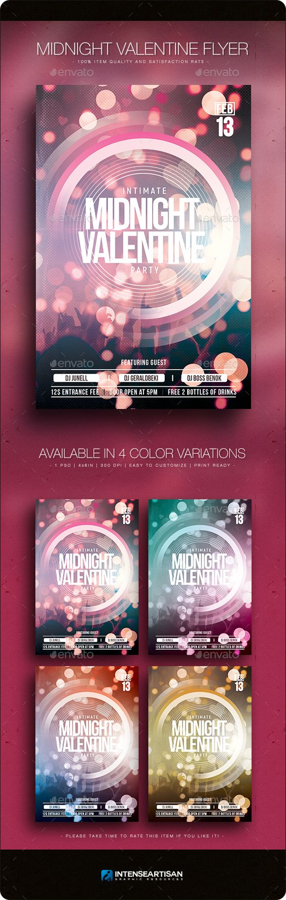 Midnight Valentine Flyer Template Pinterest Valentine S Day