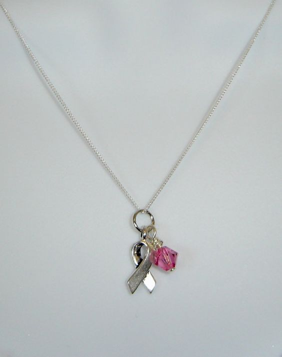 Pink Lady Breast Cancer Awareness Necklace by tiffanysdesignstudio, $31.00