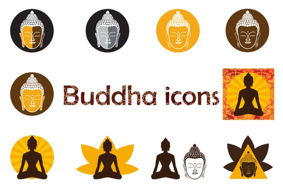 Set of Buddha icons. by whynot on Creative Market