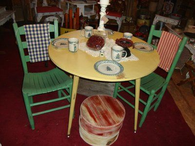 Marvelous It Is Shabby Chic Or Primitive...whichever You Are! It Has Adjustable Legs  So That They Can Be Strait Or Slanted A Bit. So Cute! Chairs NOT Included!