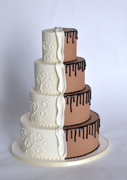 half chocolate and vanilla wedding cake the world s catalog of ideas 15049