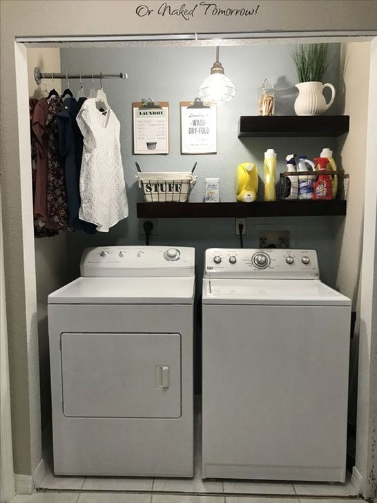 - In a lot of cases, the laundry room is a smaller space because it only needs to be able to fit a washing machine, a drying machine, and a person. Of c...