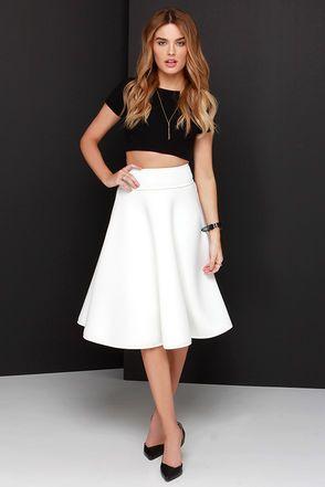 Chic Ivory Skirt - High-Waisted Skirt - Midi Skirt - $58.00