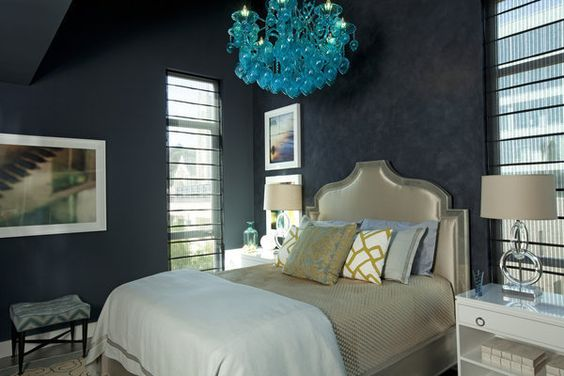 @ErinnValencich Small Space, Big Style Master Bedroom. The blue walls are layered in Portola Paints & Glazes' Roman Clay, a finish applied with a putty knife to add texture.. Even more stunning in person. California Home+Design Magazine Showhouse http://articles.latimes.com/2012/sep/13/news/la-lh-small-space-big-style-showhouse20120911#