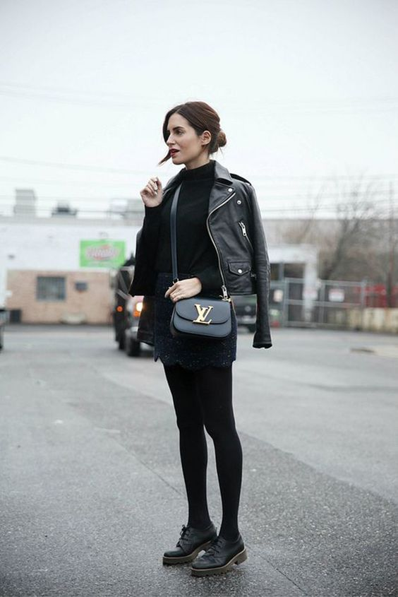 outfits negro con chamarra