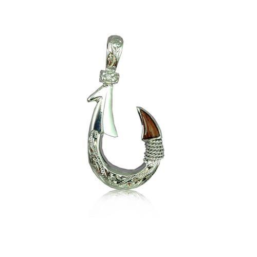 Small Hawaiian Fish Hook Koa Wood Rhodium Sterling Silver 925 Pendant Necklace