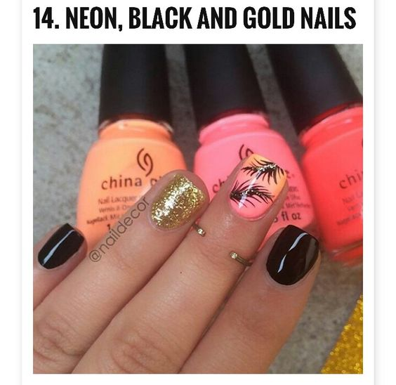 Neon, black & gold