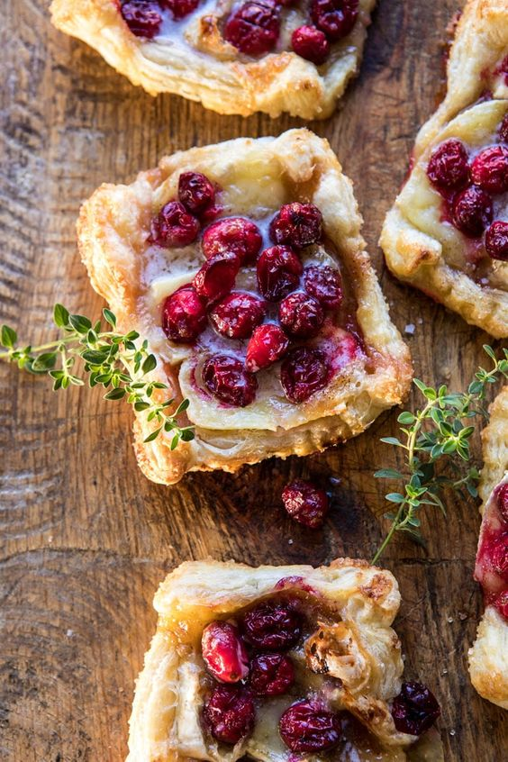 Cranberry Brie Pastry Tarts | halfbakedharvest.com #brie #cranberries #appetizers #thanksgiving #christmas