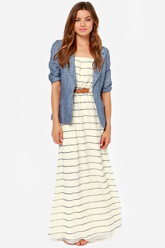 Nautical Striped Cream Maxi Dress