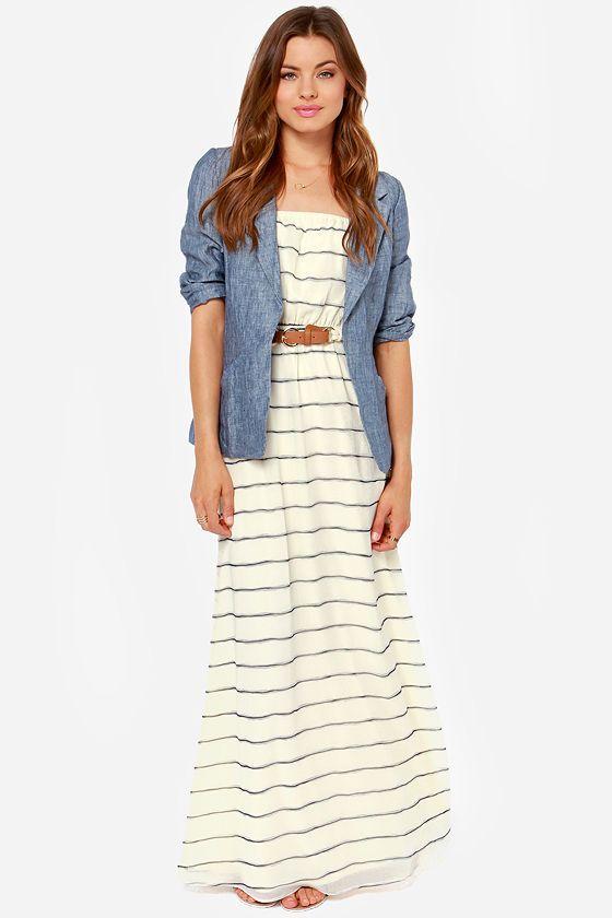 Nautical Striped Cream Maxi Dress