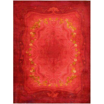 Nazmiyal Collection Vintage Art Nouveau Wilton Wool Red Yellow
