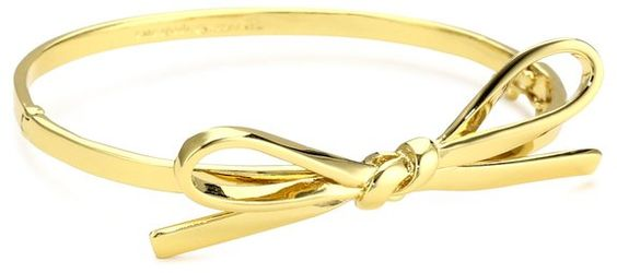 "kate spade new york ""Skinny Mini"" Gold-Tone Bow Bangle Bracelet"