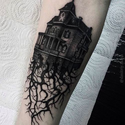 Haunted house mansion tattoo Gothic