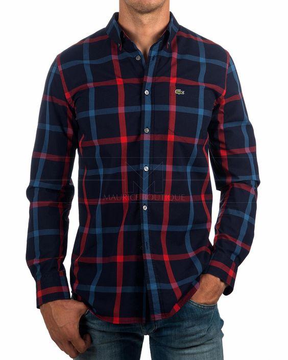 Camisas Lacoste de cuadros - Azul Marino   Envio Gratis