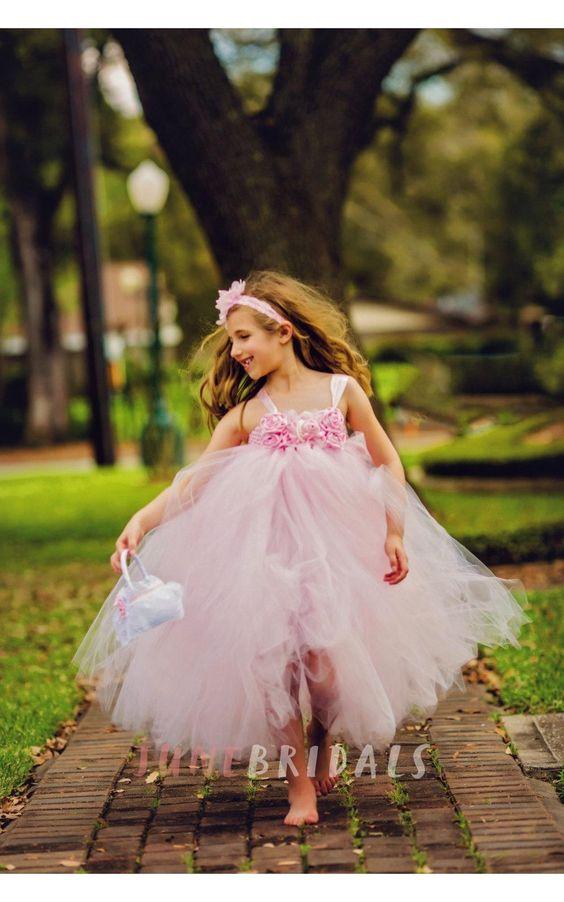 Light Pink Flower manches corsage de tulle fille fleur: