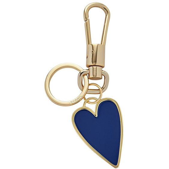 Fossil Enamel Heart Bag Charm ($28) ❤ liked on Polyvore featuring jewelry, pendants, sapphire, heart shaped charms, gold tone charms, charm pendant, heart jewelry and gold tone jewelry