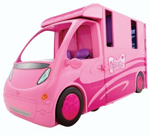 Barbie and Her Sisters in a Pony Tale RV Vehicle (746775171049) Inspired by the new Barbie Movie, Barbie and Her Sisters in A Pony Tale Girls can recreate their favorite scenes from the new Barbie movie Vehicle separates for a smaller ride, while the camper opens up to create a large set with multiple play spaces Camper has bedding and seating for four dolls, a hot tub/fire pit, plates, cups, food and marshmallows on sticks Collect all of your favorite Barbie in A Pony Tale Dolls and Horses…