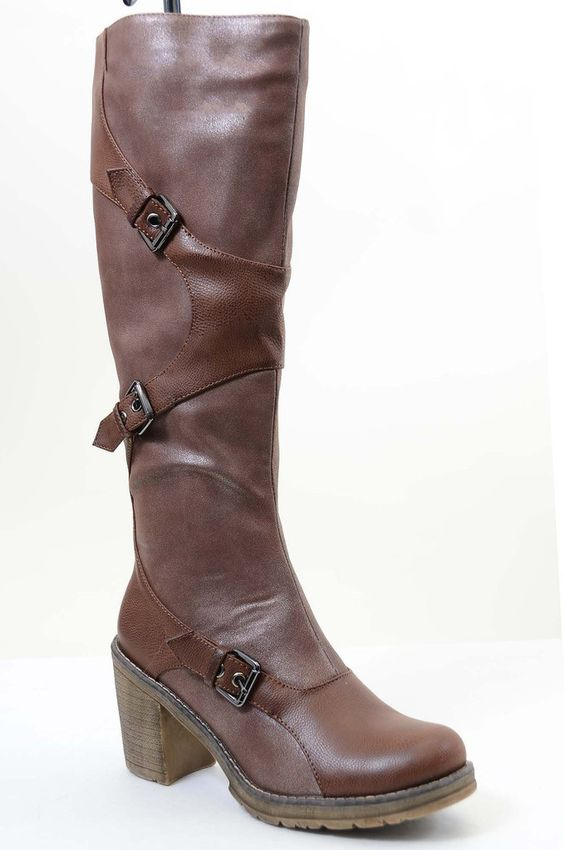 Brown Strappy Buckle Riding Women's Vegan Knee Chunky Heel Boots ...