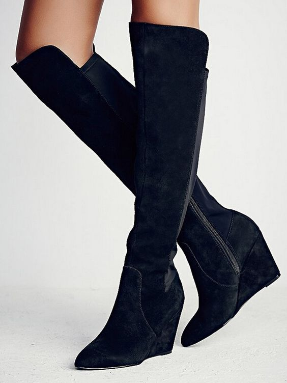 Black Suede Contrast Elastic Stretch Back Over-the-knee Wedge Boot ...