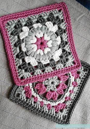 """""""Crochet cumple Patchwork"""" afgano - Modelo rosado cuadrado de la abuelita Round-up - Pasta & Patchwork"""