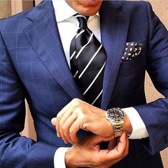 Blue windowpane suit with black and white details