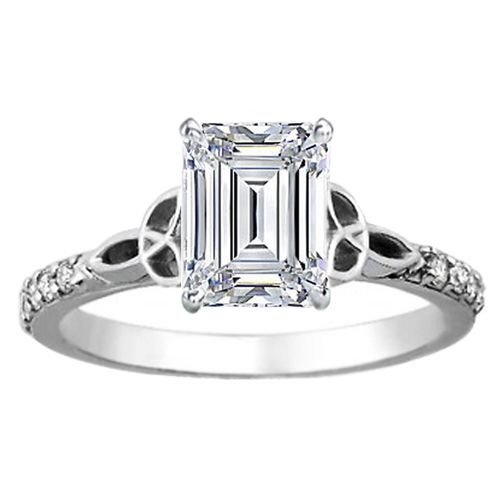Emerald Cut Diamond Celtic Knot Engagement Ring with Diamond Accents in 14K W