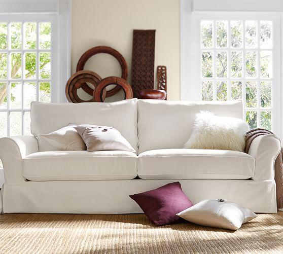 Pb Comfort Eco Roll Arm Slipcovered Sofa Pottery Barn