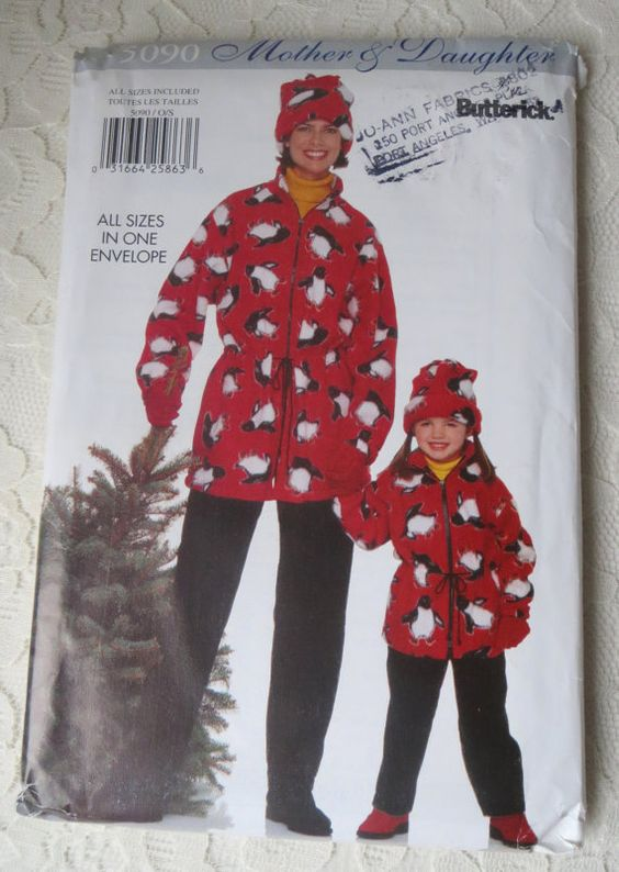 Butterick 5090 Sewing Pattern Mother & Daughter Jacket, Pants and Hat Misses/Children Girls All Sizes in One Envelope OOP
