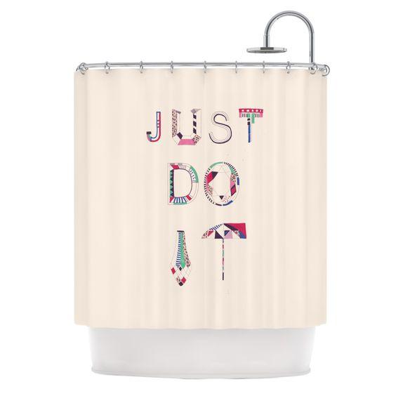 "Vasare Nar ""Just Do It"" Tan Rainbow Shower Curtain"