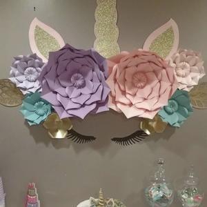 Unicorn Party Paper Flowers Birthday Decoration Wedding Girls Room Nursery Wall Decor Baby Shower Unicorn Backdrop Paper Flower Set