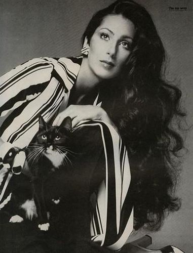 Cher by Richard Avedon. What icons are made of. The makeup, the hair, the classic, chic blouse, the kitty- baby....I love everything about this photo.