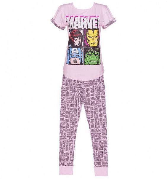 Women's Pink Marvel Comics Characters Pyjamas
