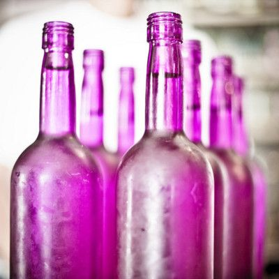 Pink vintage glass colored